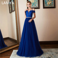 LAMYA Lace V Neck Evening Gowns With Crystal Beading Sashes Tulle A Line Prom Dress Backless Evening Dresses vestido longo festa
