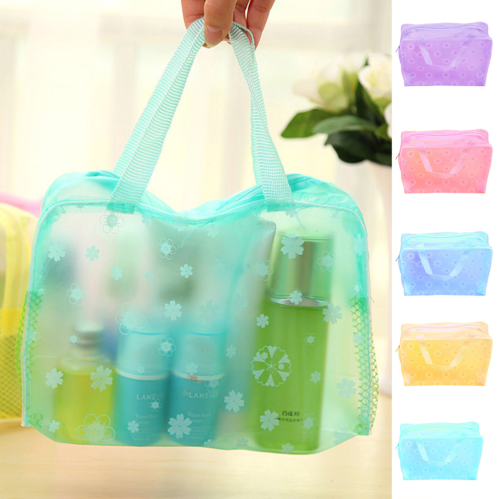 Fashion Transparent Cosmetic  Bag Candy Color Handheld Pocket Toiletry Pouch Floral Print Makeup Storage Bags Waterproof Durable