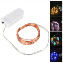 купить 5M 3M 2M 1M LED Copper Silver Wire String Lights Fairy Garland For New Year Christmas Home Wedding Decoration Battery Operated дешево