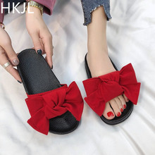 HKJL Slipper women 2019 summer new bow fashion outside wear with one-word flat slippers A115