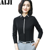 Black Women Blouse Shirt Elegant Formal Blusas Fashion Women S Spring Summer Blouses Long Sleeve Shirts