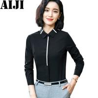 Black Women Blouse Shirt Elegant Formal Blusas Fashion Women S Spring Summer Blouses Long Sleeve Shirts
