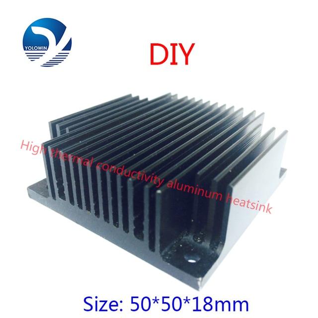 2 قطعة 50x50x18 مللي متر الكمبيوتر الأسود مبادل حراري من الألومنيوم بالوعة الحرارة المبرد ل رقاقة الكترونية LED رام مسند تبريد للاب توب مدمج به مكبر صوت ملحق YL 0005