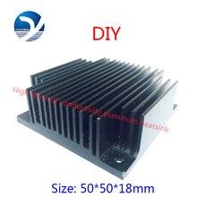2 pces 50x50x18mm computador preto alumínio dissipador de calor radiador para chip eletrônico led ram cooler acessório de refrigeração YL 0005
