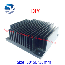 2Pcs 50x50x18mm Computer Black Aluminum Heatsink Heat Sink Radiator For Electronic Chip LED RAM Cooler Cooling Accessory YL-0005