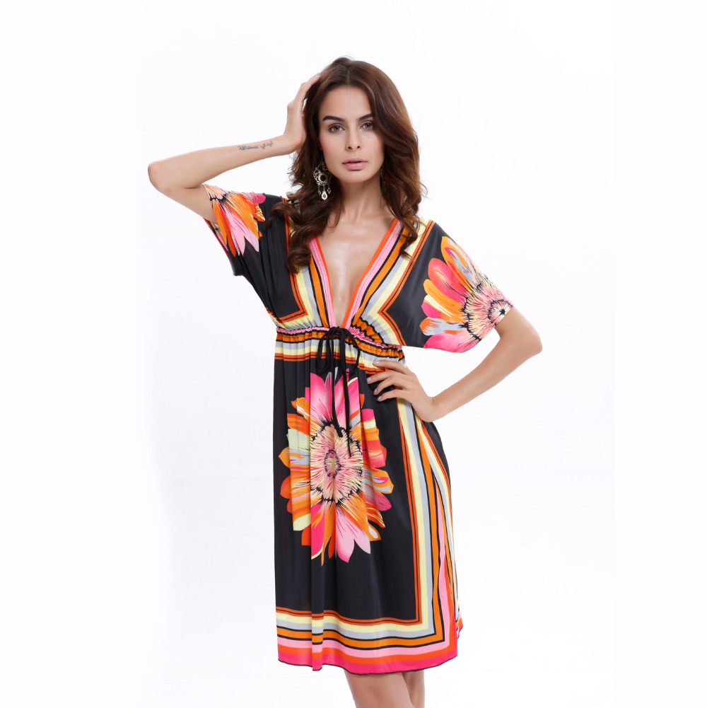 UTMEON 4 Styles-2016 New Women's Plus Size Bohemian Summer Style  Short Sleeve Deep V Neck Casual Fashion Print Sexy Beach Dress