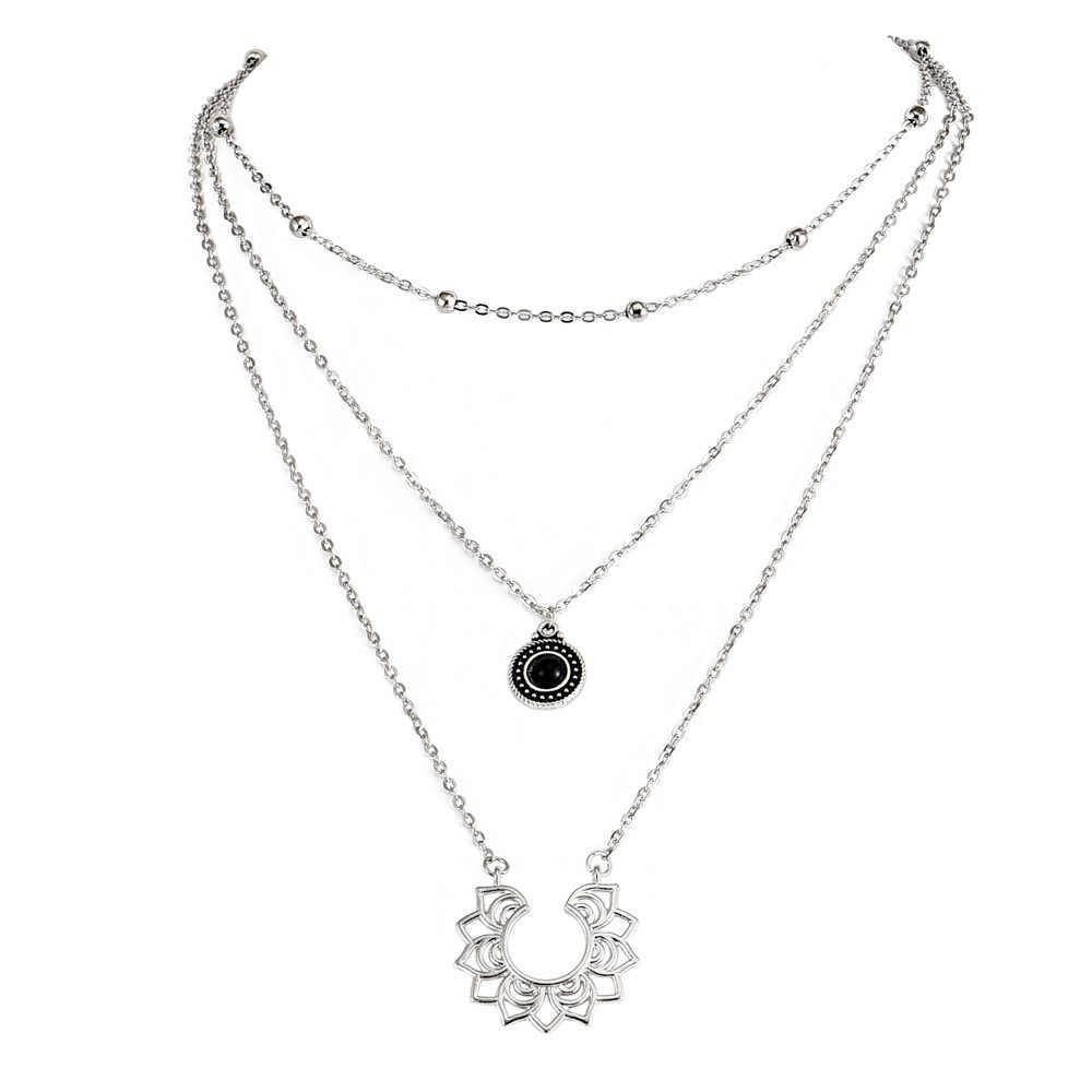 Новое модное популярное ожерелье в стиле бохо Ретро серебряное многослойное женское ожерелье национальная горячая Распродажа ювелирных изделий оптом