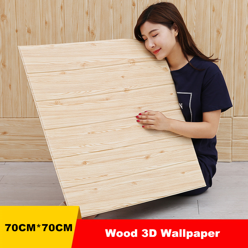 Self adhesive Wood Wallpaper 3D Waterproof Wall Mural Living Room Background Wall paper Bedroom Decor Sticker