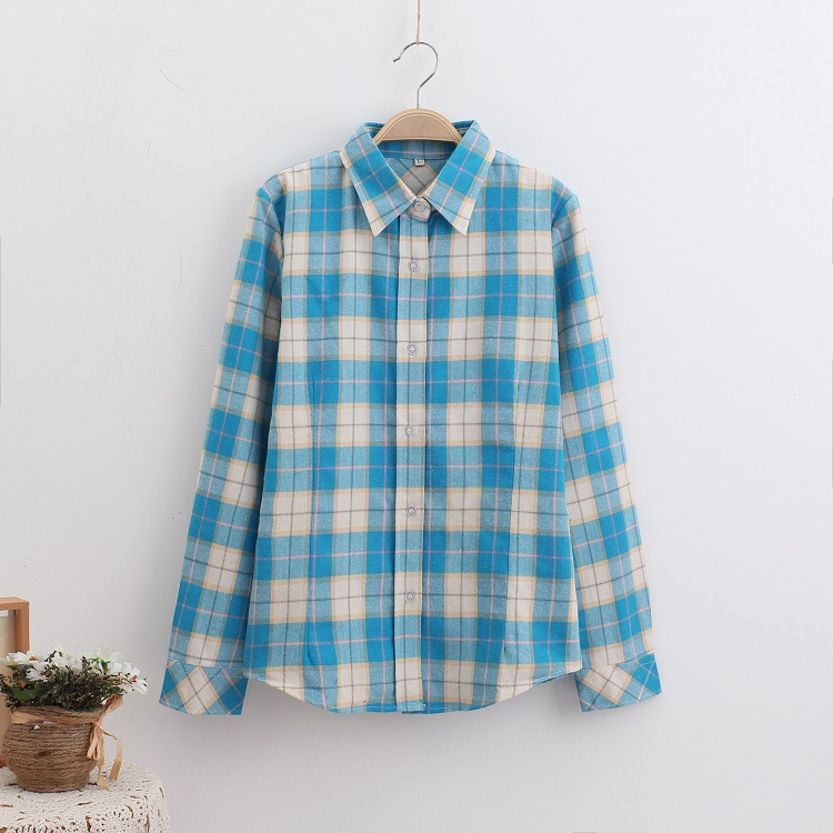 2018 Fashion Plaid Shirt Female College Style Women's Blouses Long Sleeve Flannel Shirt Plus Size Casual Blouses Shirts M-5XL 39