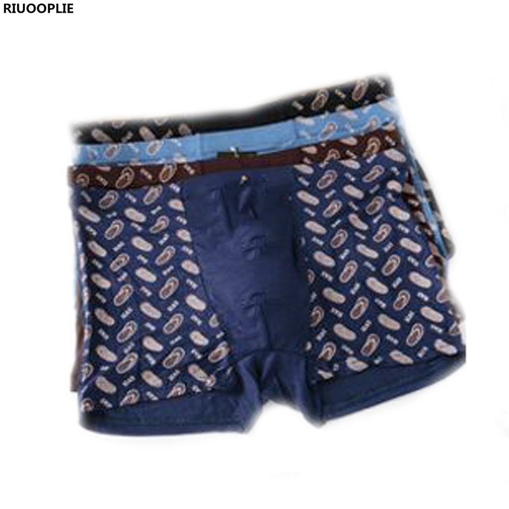 RIUOOPLIE Men Boxers Sexy Male Underwear Shorts Solid Print Anti Bacterial Breathable Modal Cotton Underpants Plus Size Panties
