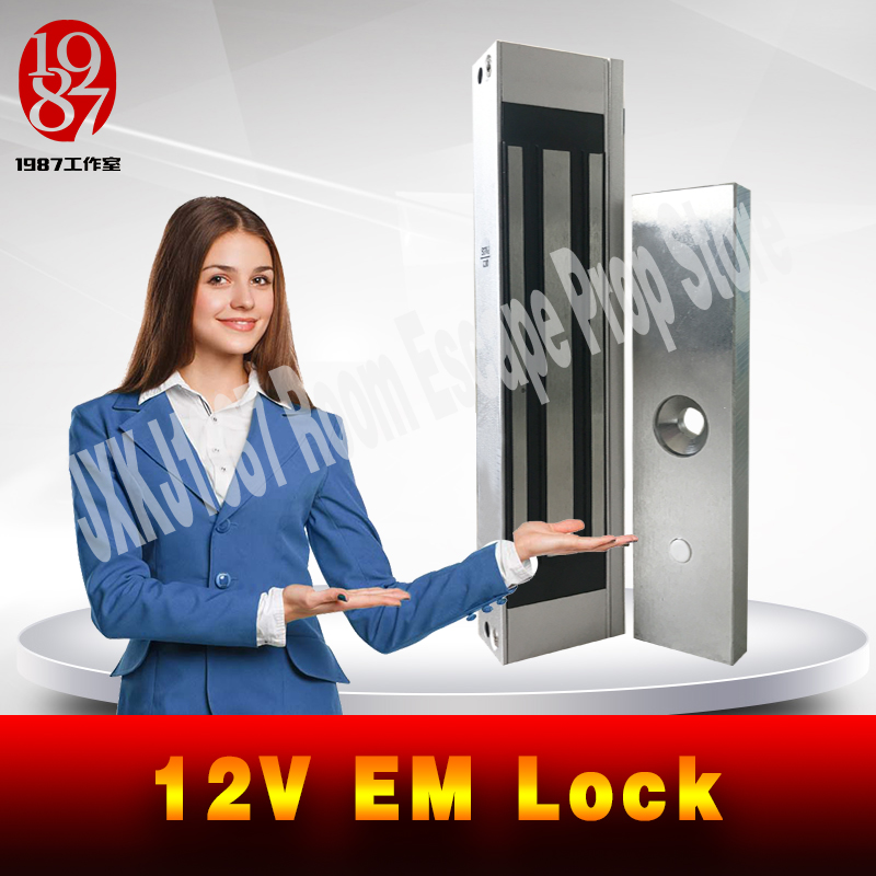 Takagism Game Real Life Room Escape Props Jxkj1987 12v EM Lock Installed On The Door Electromagnetic Lock 180KG SUCTION