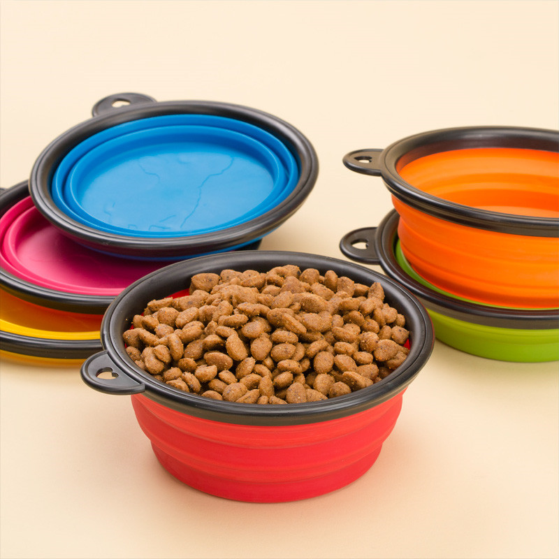 Collapsible Portable Folding Silicone Cat Dog Food Drinking Water Bowls Outdoor Travel Bowl Feeder Bottle Dog Bowls