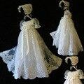 ADK Meninas Do Batismo Do Bebê Vestido Longo seção personalizado palácio real rendas lantejoulas dress aniversário das meninas do bebê 3 m 6 m 12 m 18 m 24 M
