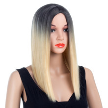 Aigemei Wigs With Baby Hair 16 Inch Natural Hairline Straight For Women Synthetic Wig
