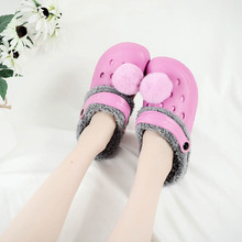 1 Pair Women Eva Winter Clogs Fur Garden Shoes Indoor Home Hole Shoe Sandal Slippers EVA Flat Clog Footwear High Quantity