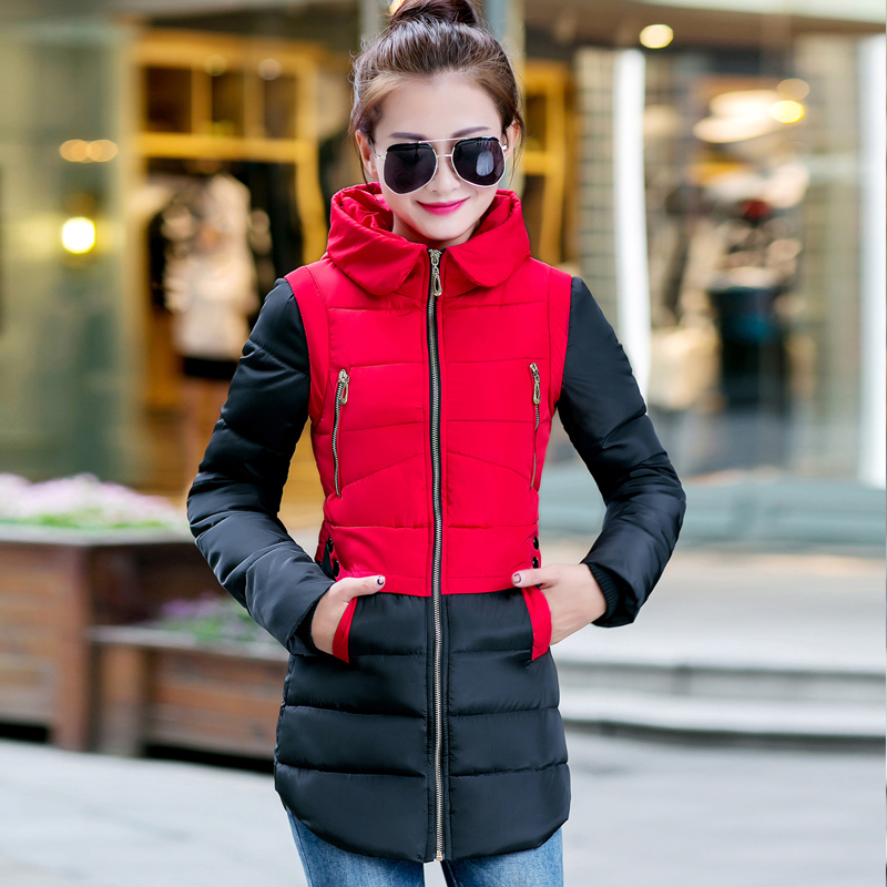 Women'S Hooded Cotton-Padded Jacket Winter Medium-Long Cotton Coat Plus Size Parkas Jacket Female Slim Ladies Jacket Coats C1255 plus size 3xl ladies new fashion winter coats 2017 casual parkas mujer outwear female hooded cotton padded medium jackets cm1754