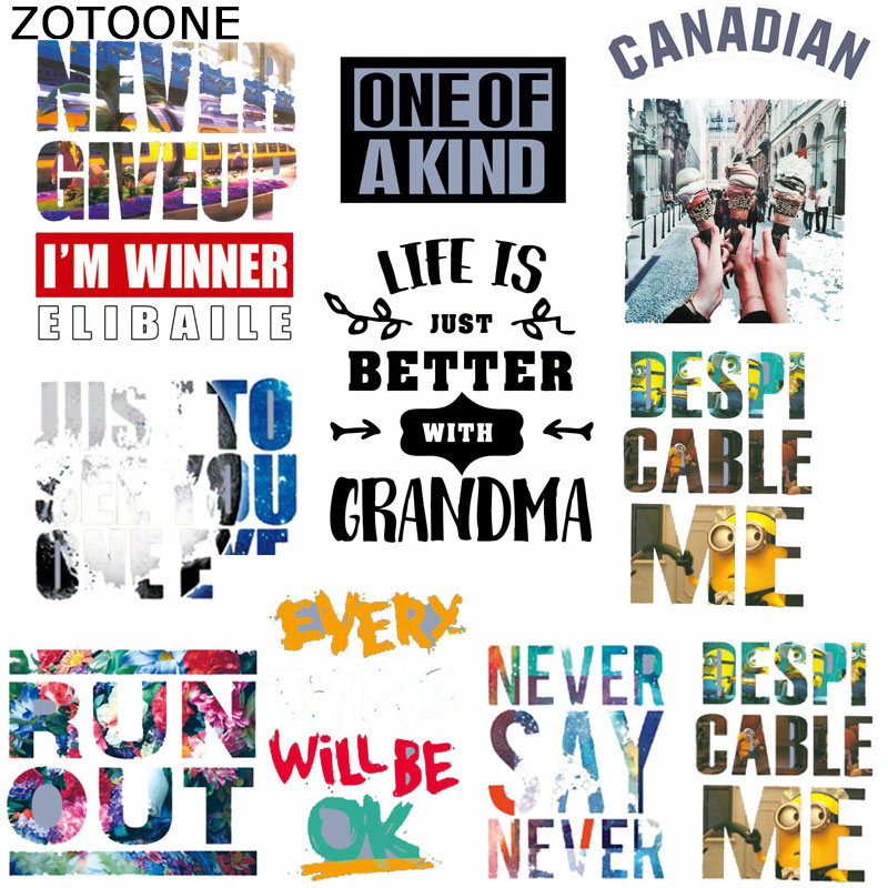 ZOTOONE Color letter Animal Iron On Patches Clothes Sticker DIY  Letter Thermal Heat Transfer for T-shirt Printed patch D