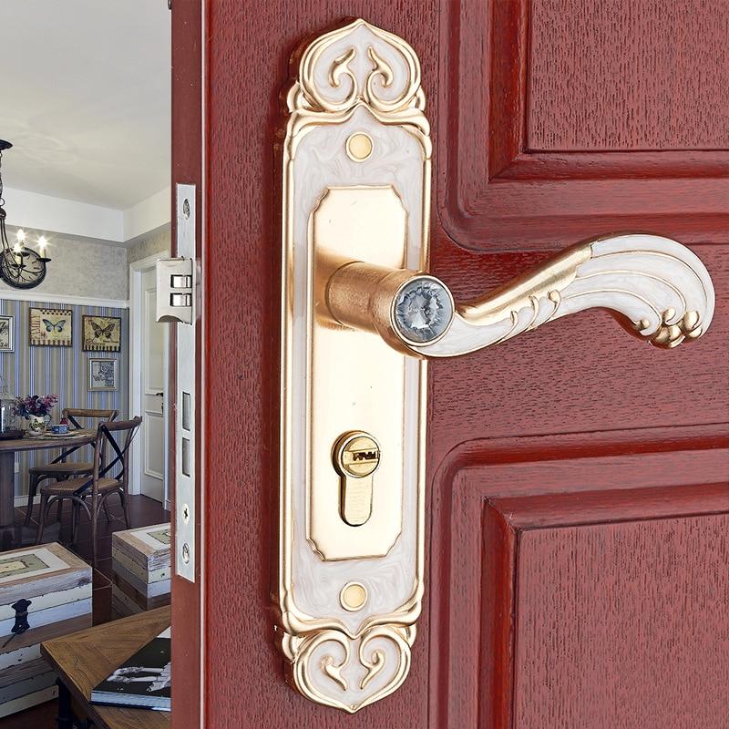купить Aluminum alloy interior door handle lock bedroom door lock mechanical lock engineering locks онлайн