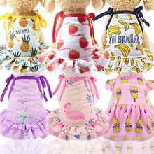Cotton Pet Clothes Cute Fruit Pattern Dog Dress T-shirts Lovers Suit Small Medium Cat Supplies Skirts Poodle