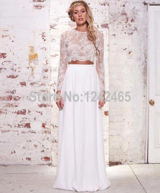 Summer Chiffon Bohemian Wedding Gowns Lace Top 2 Piece Wedding