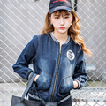Denim Jacket Women Short Jeans Overcoat Ladies Jackets Tops Round Collar Slim Blue Jeans Top For Women High Quality