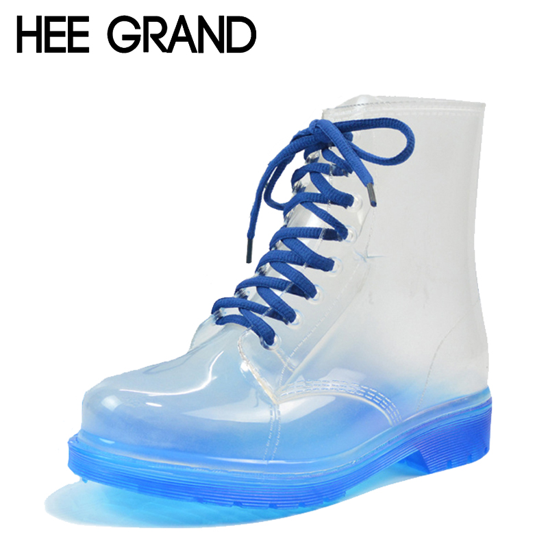 HEE GRAND 2017 New Women Rainboots Transparent Waterproof Boot Colorful Autumn Rubber Shoes Rainboot Woman Ankle Boots XWX195 john paul mueller beginning programming with python for dummies