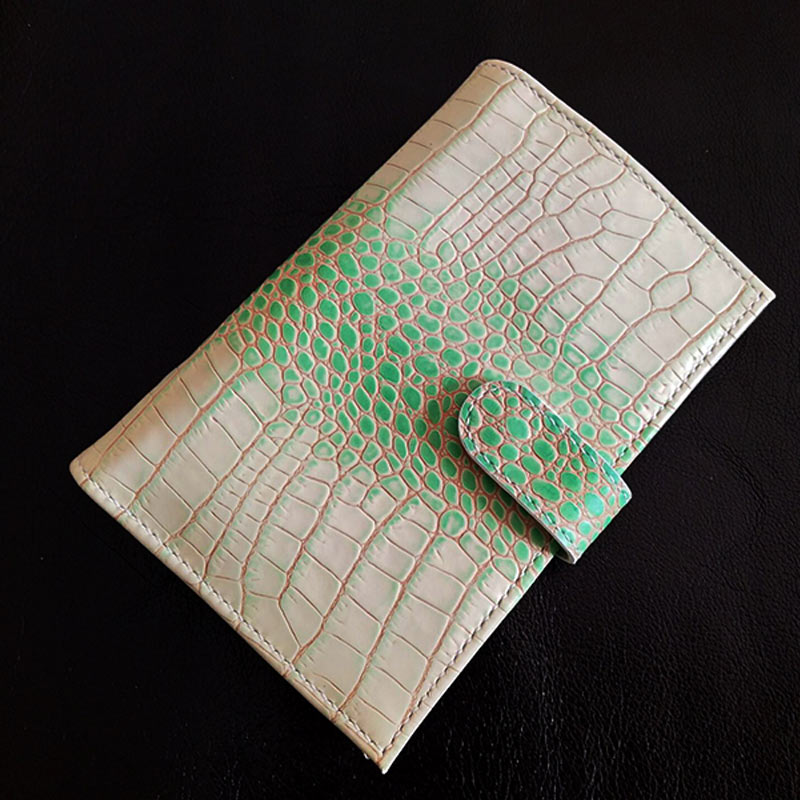 Yiwi Peacock Green Genuine Leather Rings Notebook A6 Brass Binder