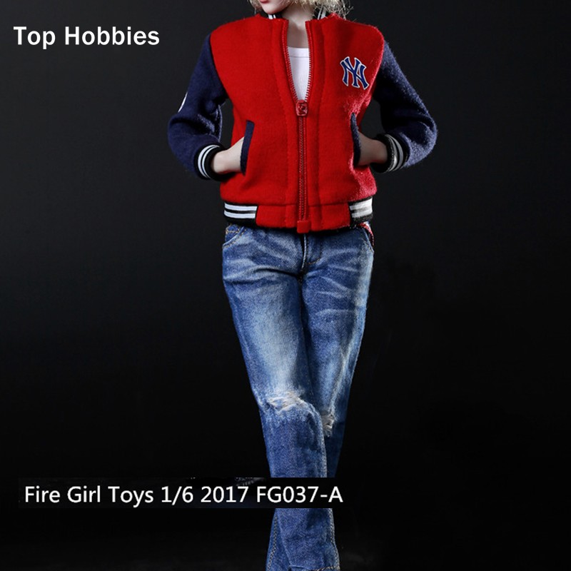 1/6 Female Baseball Clothes Sport Suit Fire Girl Toys 2017 FG037A Red for 12 Inch Phicen Action Figures Doll Toys Collection hot figures doll accessories pirp toys 1 6 batman police commissioner gordon inspector dresscode clothes set for 12 figure body