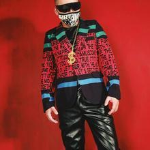 Парикмахер бар певец из ночного клуба куртка DJ DS письмо тонкий контрастный цвет костюм хип хоп сценический костюм модный блейзер для мужчин