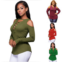 2017 Shirt Women O Neck Shirt Long Sleeve Blouse Femme Hiver Ladies Tops Plus Size Hollow