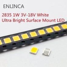 100pcs SMD LED 2835 Chips 1W 3V 6V 9V 18V beads light Ware Cold Nature White 1W 130LM Surface Mount PCB Light Emitting Diode