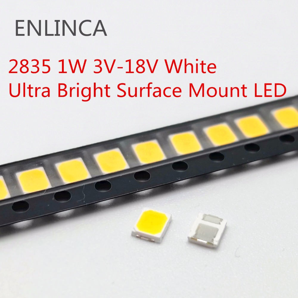 100pcs <font><b>SMD</b></font> <font><b>LED</b></font> <font><b>2835</b></font> Chips 1W 3V 6V 9V 18V beads light Ware Cold Nature White 1W 130LM Surface Mount PCB Light Emitting Diode image