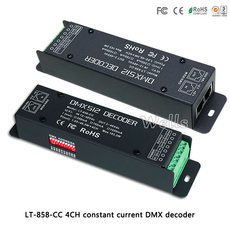 4CH CC DMX/RDM Decoder;LT-858-CC;DC12-48V input;CC 350/700/1050mA 3 in 1*4CH output led controller for led lamp new ltech led dmx decoder 4ch cc rgb strip dmx decoder dc12 48v in 700ma 4ch output dc12 46v output 4 channel dmx pwm decoder