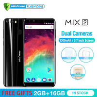 Ulefone MIX 2 5.7 HD+ 18:9 screen MTK6737 Quad Core Android 7.0 Fingerprint 2GB+16GB Mobile Phone 13MP Dual Camera Cellphone