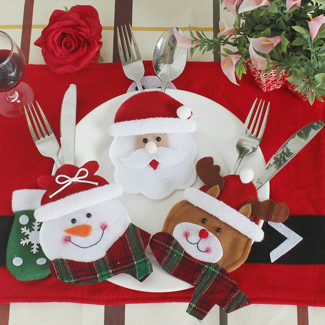 Us 4 83 54 Off Aliexpress Com Buy 6pcs Set Christmas Decorations For Home Snowman Cutlery Bags Christmas Santa Claus Kitchen Dining Table Cutlery