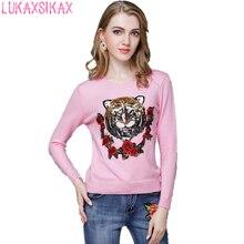 2018 nueva Otoño Invierno mujeres suéter de gama alta Custom Tiger Head  lentejuelas y flores de Rosa diseñador suéter tops f45868717df12