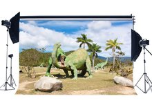 Dinosaur Backdrop Jurassic Period Nature Mountain Forest Trees Blue Sky White Cloud Cartoon Photography Background