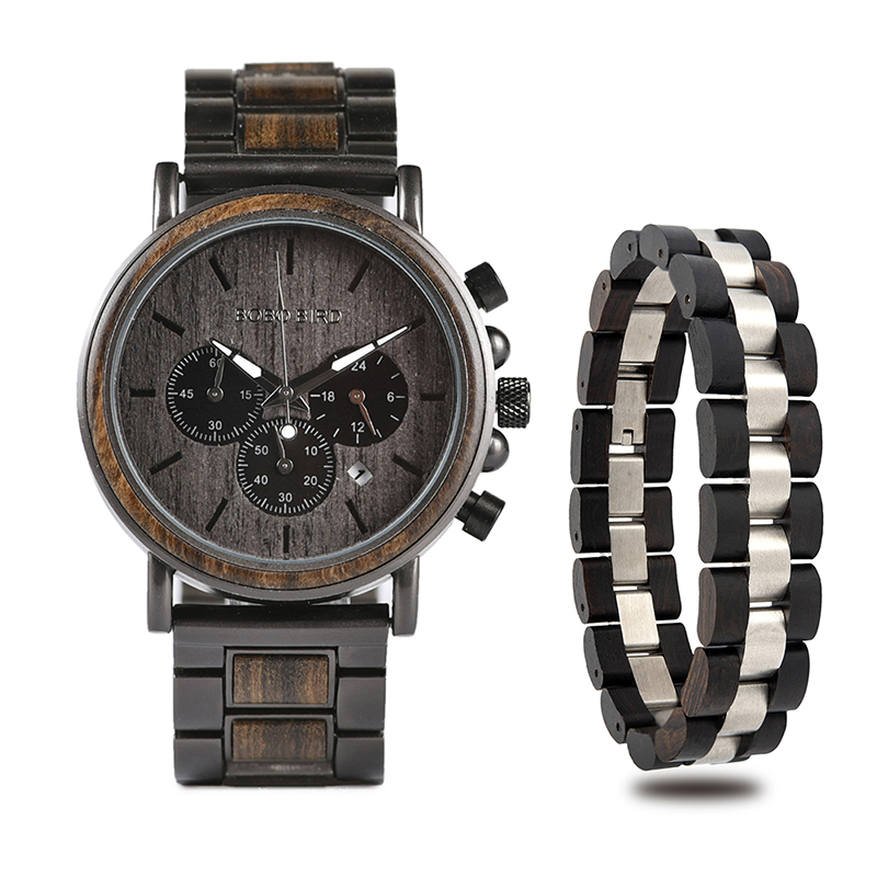 BOBO BIRD Wooden Timepieces Men Watches Bracelet Set Chronograph Military in Wooden Box relogio masculino OEM