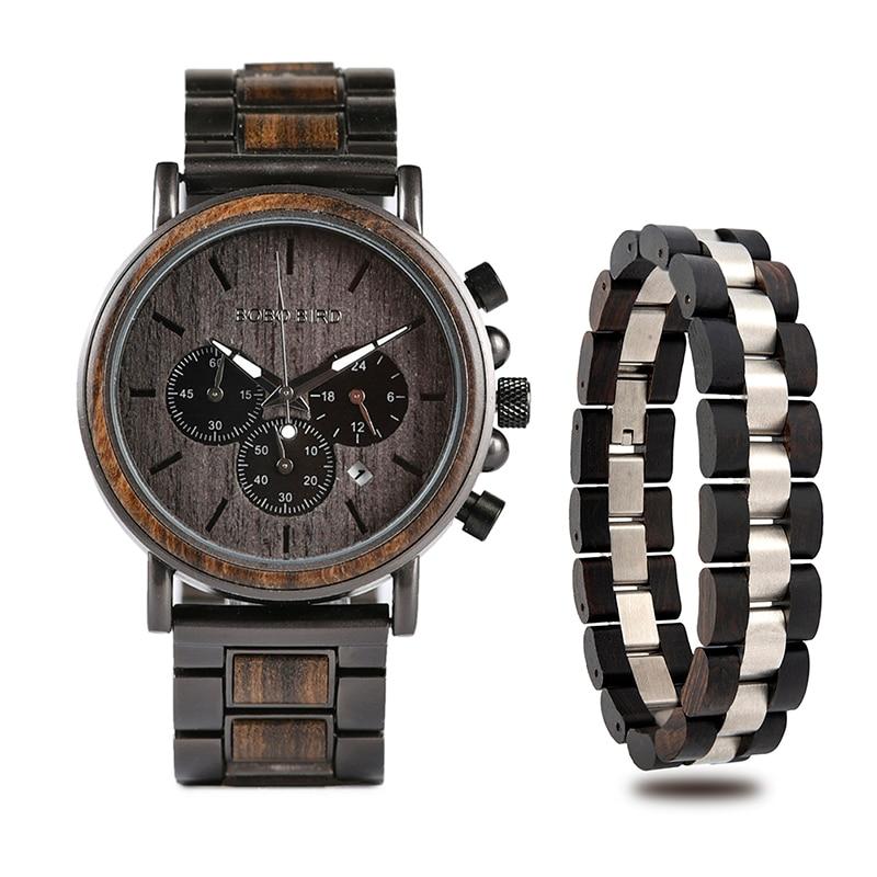 BOBO oiseau montres en bois hommes montres Bracelet ensemble chronographe militaire dans une boîte en bois relogio masculino OEM livraison directe