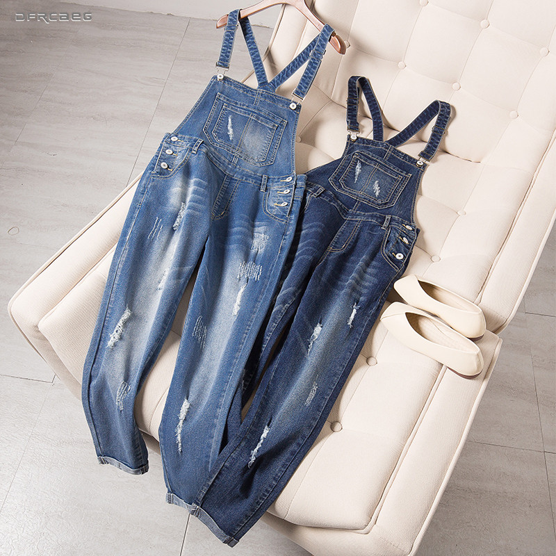 5XL Elegant Women Loose Plus Size Denim   Jumpsuits   Overalls 2019 Summer Casual Streetwear Ankle-length Jeans Rompers Female