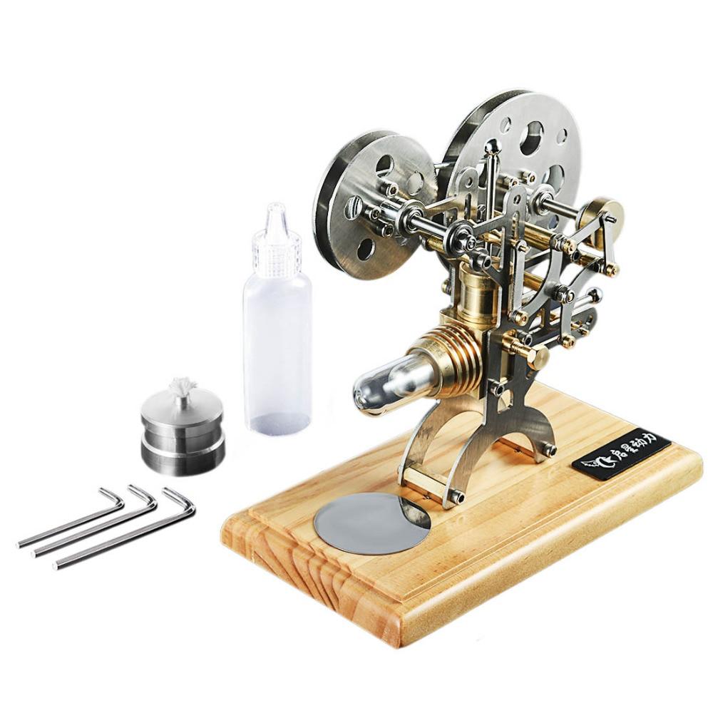 Rétro Stirling moteur moteur à Combustion externe Science modèle éducatif décoration Base en bois massif