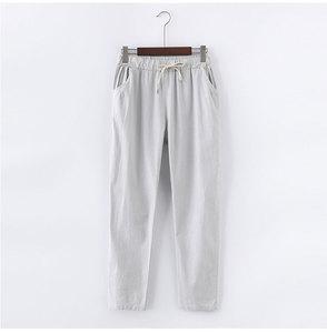 Image 5 - 13 צבעים נשים מכנסיים חדש כותנה פשתן קיץ מכנסיים מכנסיים אלסטיות גבוהה מותניים קוריאני Capris קל הרמון מכנסיים בתוספת גודל