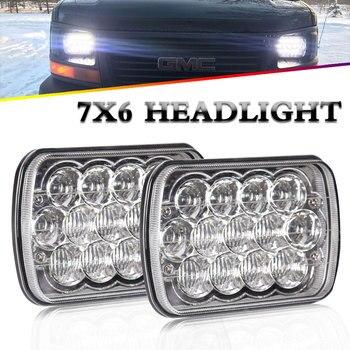 2PCS Led Headlight High Low Beam 7*6'' 5D Lens 40W 55W 4800Lm 6500K External Light for Off Road Jeep Parking Light 12V 24V