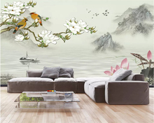Beibehang Custom photo wallpaper HD new Chinese landscape painting magnolia flower and bird figure background wall 3d