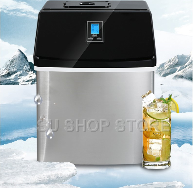 Commercial Household Ice Maker Milk Tea Shop Cafe Cold Drink Shop Ice Cube Machine Stainless Steel