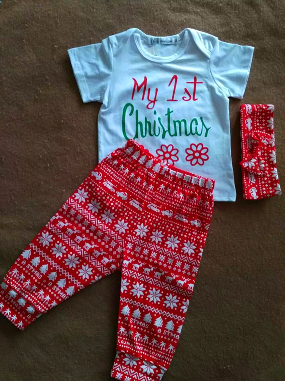 3 costumes! The 2017 new Christmas newborn baby girl short sleeve T shirt shirt + trousers + bow tie hair band hoop 0-24M