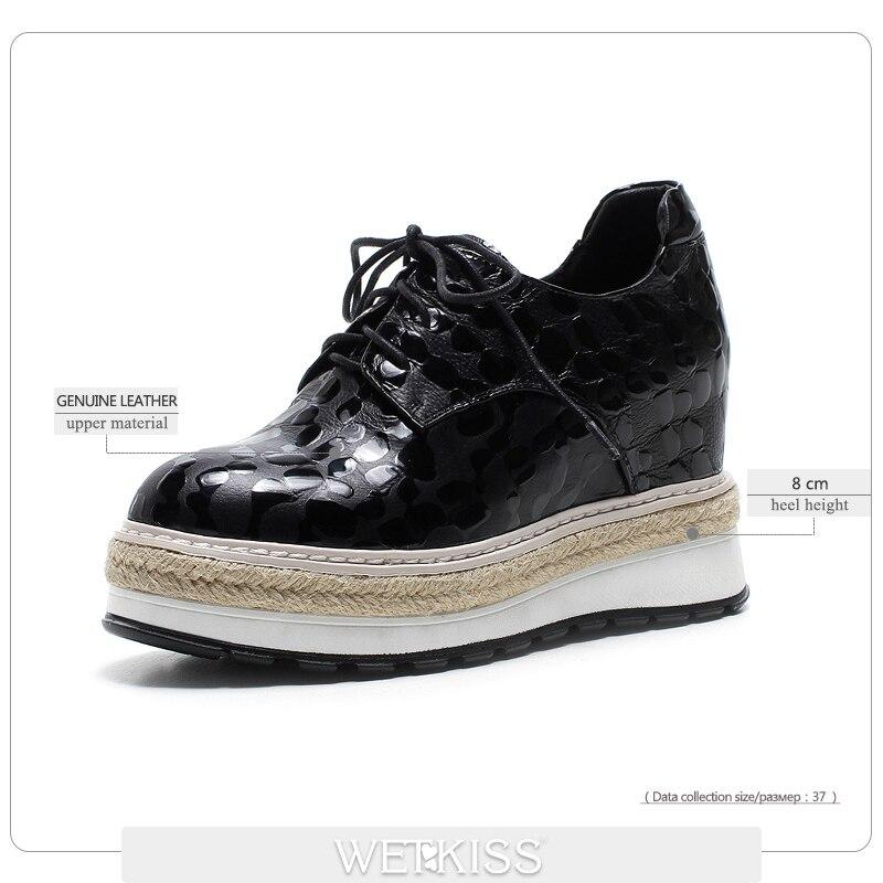 Printemps forme Femmes Plat Lace Véritable Up Arrivée Bout Cuir Mode De Ascenseur Rond Wetkiss Chaussures Plate Noir Nouvelle xpwq6H0n0