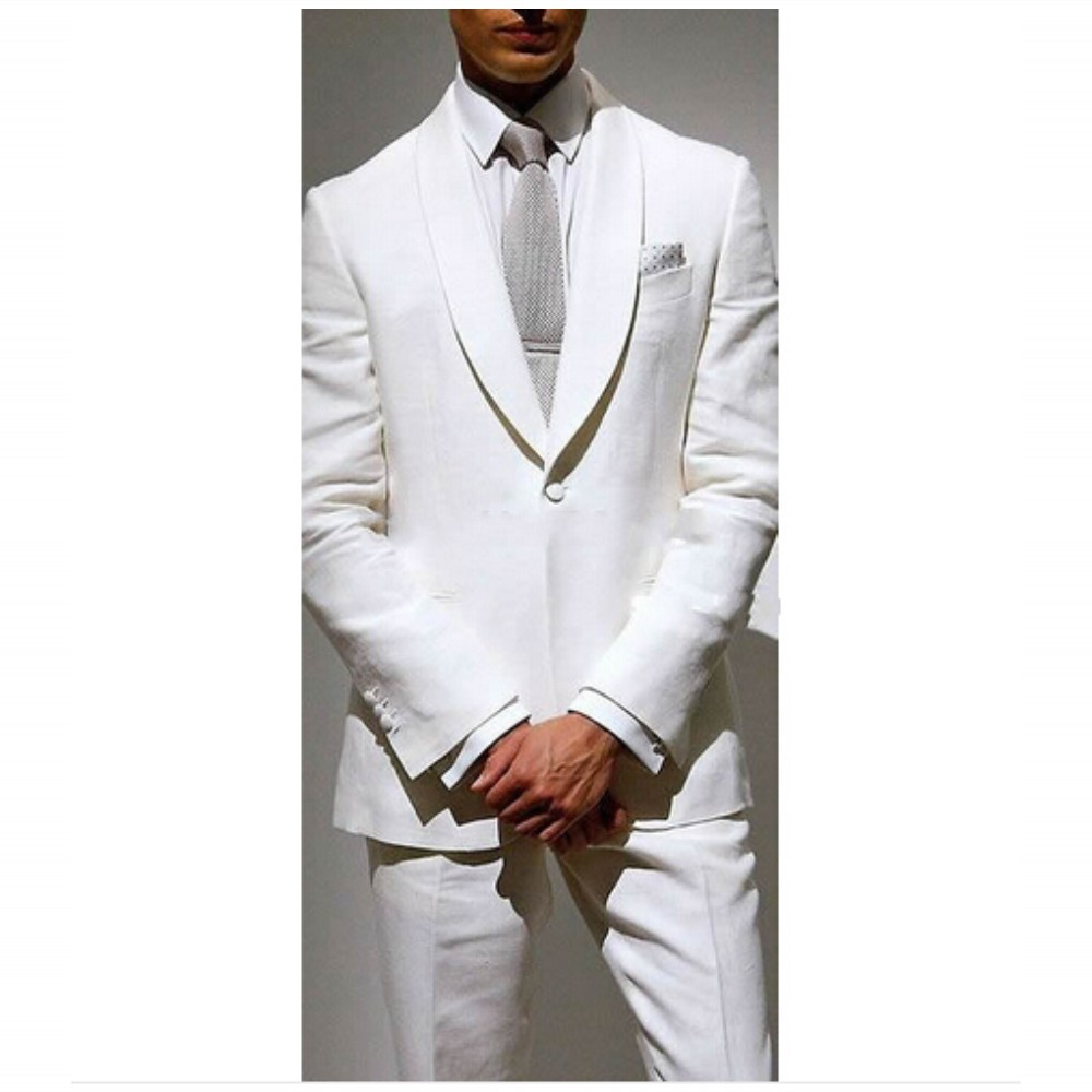 Custom Made White Man Suit Groom Tuxedo,Bespoke Suit 1-Button Shawl Lapel White Wedding Suits For Men_conew1