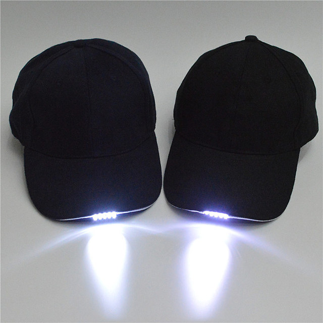 New Unisex LED Baseball Cap Outdoor 5-LED Light Hat Sport Fishing Camping  Running Baseball Cap black blue For Adult Dropshipping 0f9f76461b5