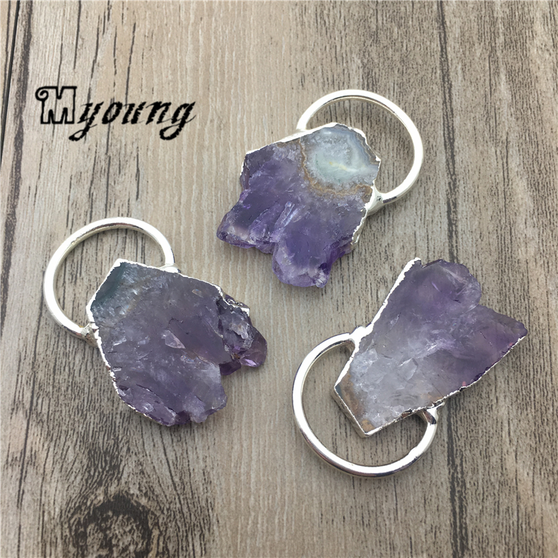 Nature Amethysts Slice Pendant Purple Crystal Quartz Charms With Silver Plated loop MY1820